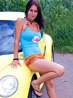 Teenage chick washing a car naked